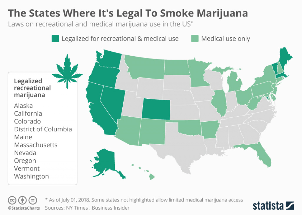 Chart: The States Where It's Legal To Smoke Marijuana | Statista for States Where Weed Is Legal Map