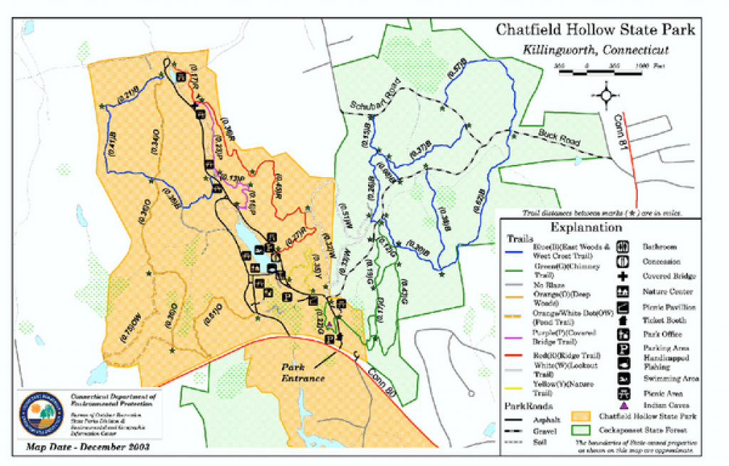 Chatfield Hollow State Park Map - Killingworth Ct • Mappery for Chatfield Hollow State Park Trail Map
