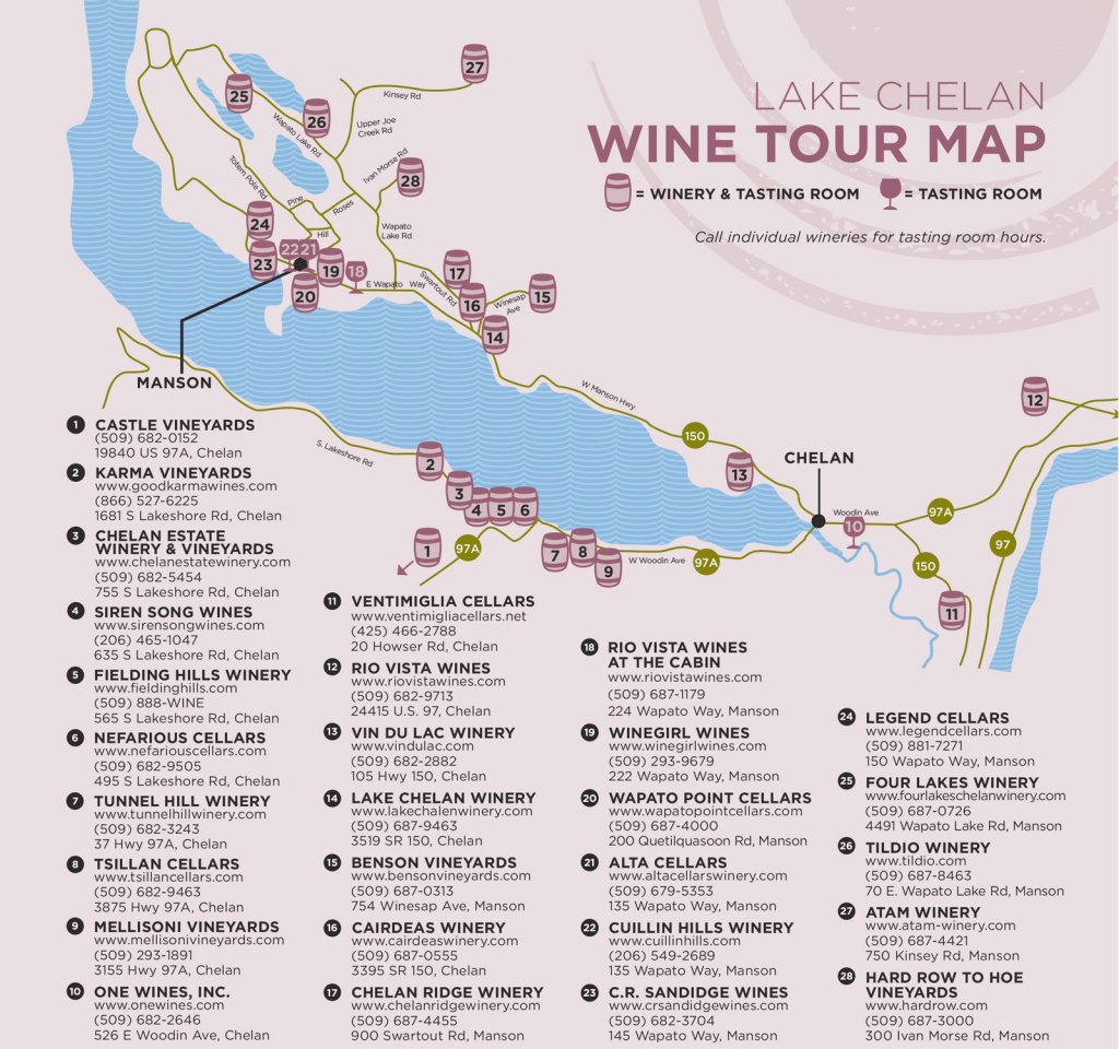 Chelan Wineries And Tasting Rooms -Washington State Tours throughout Washington State Wineries Map