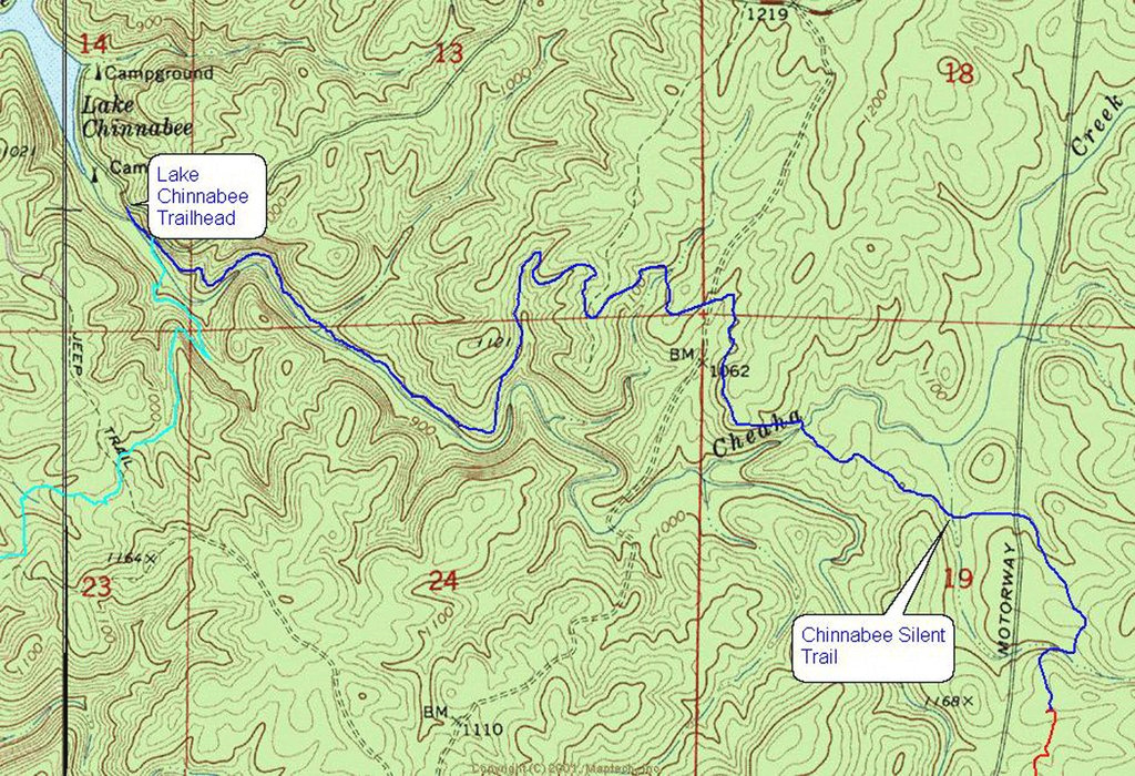 Chinnabee Silent Trail - Maplets regarding Cheaha State Park Trail Map