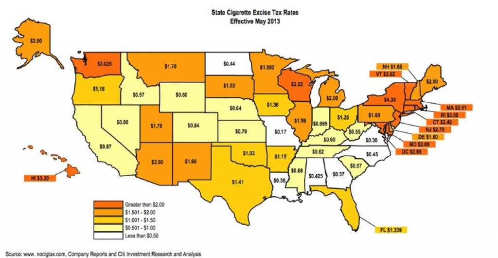 Cigarette Excise Taxstate - Business Insider for Cigarette Prices By State Map
