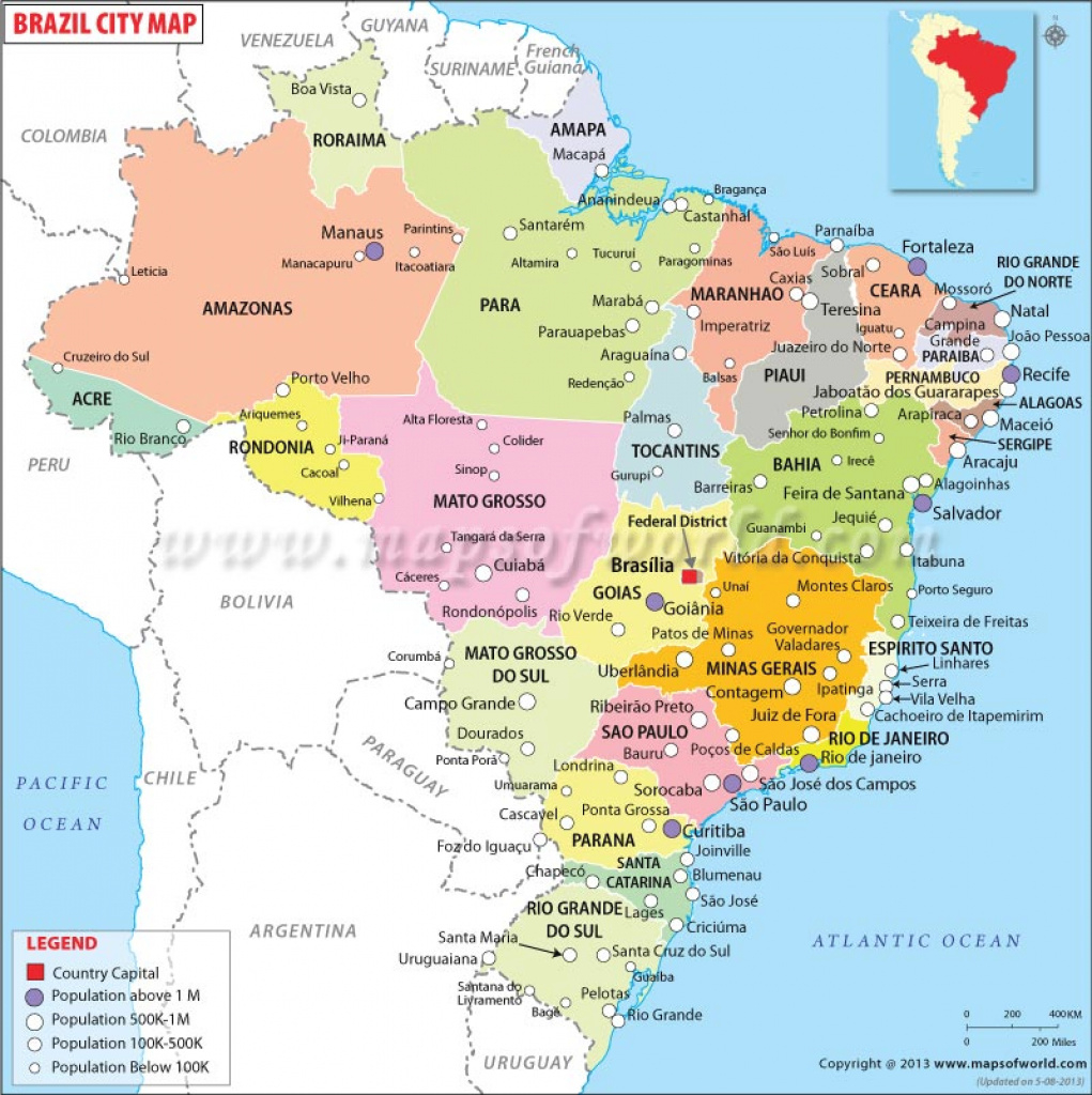Cities In Brazil, Map Of Brazil Cities with regard to Map Of Brazil States And Cities