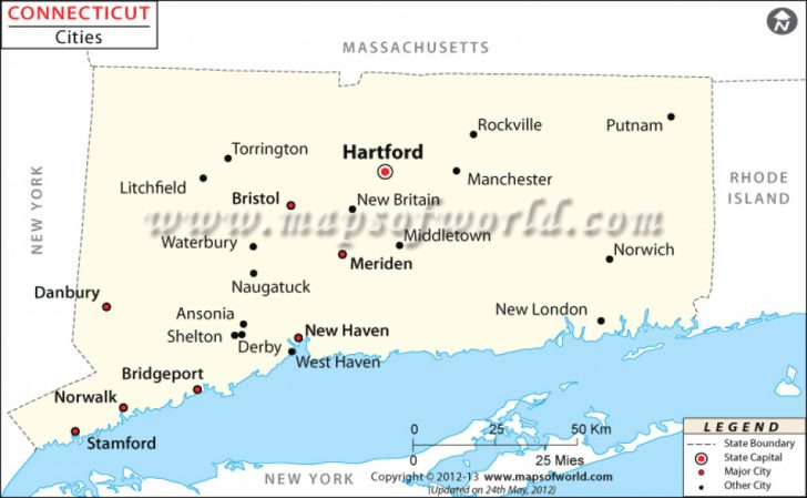 State Of Ct Map With Towns