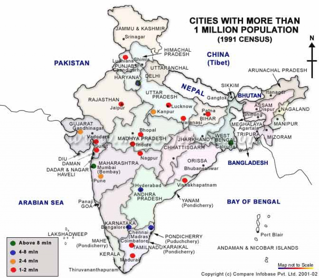 Cities With More Than One Million Population In India within Map Of India With States And Cities