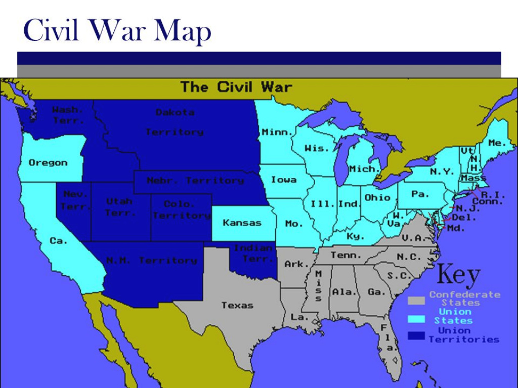 Civil War North Vs. South Civil War Facts. North Vs. South 11 States with Civil War Map Union And Confederate States