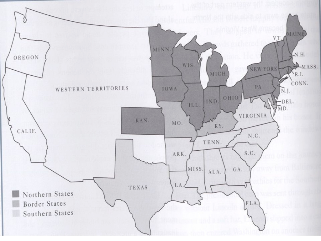 Civil War Union Vs. Confederate. Causes For The War Slavery Economic pertaining to Outline Map The States Choose Sides