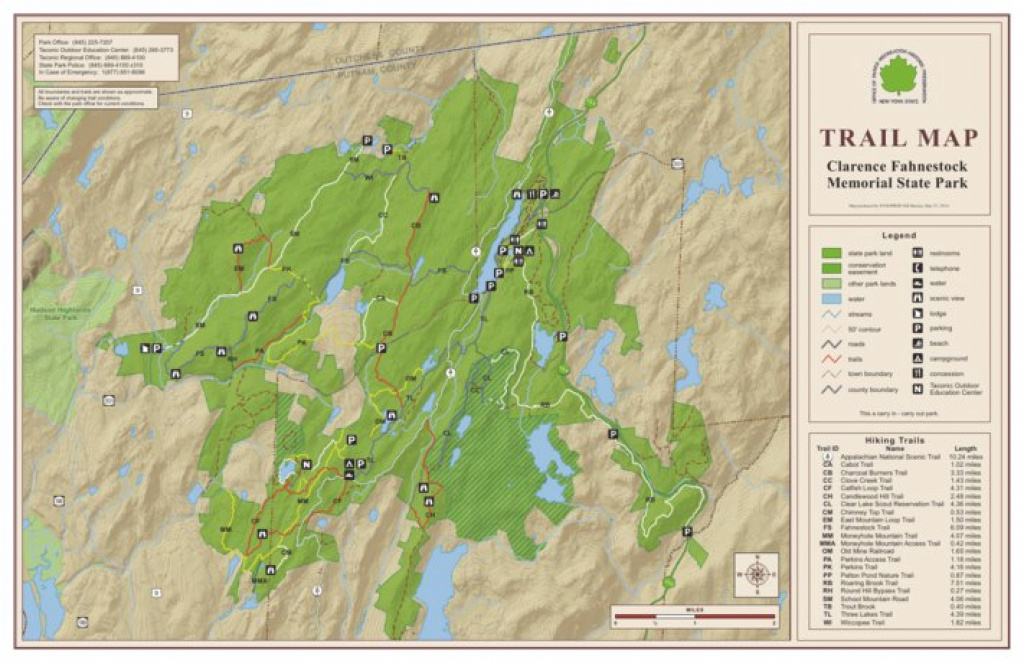 Clarence Fahnestock State Park Trail Map - New York State Parks within Fahnestock State Park Trail Map