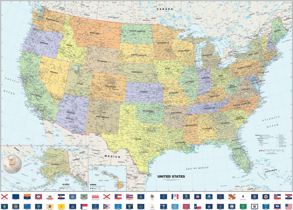 Classic Usa Wall Map With State Flags regarding State Wall Maps