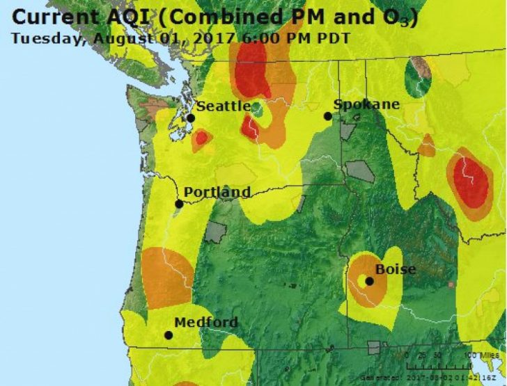 Washington State Air Quality Map