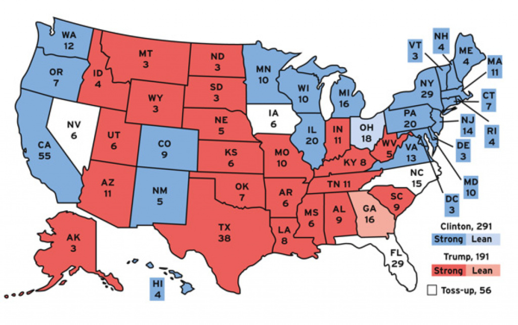 Clinton On Track To Win 2016 Presidential Election in Map Of States Trump Won