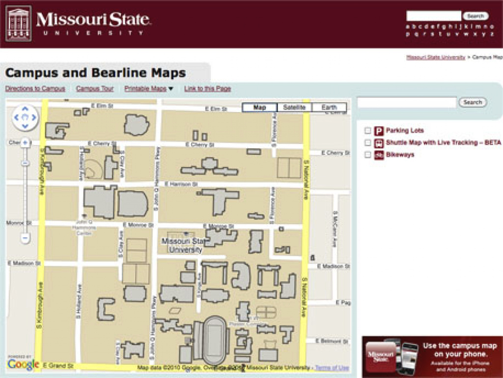 College Web Guy » Missouri State's Great Interactive Map: A Look within Missouri State Parking Map