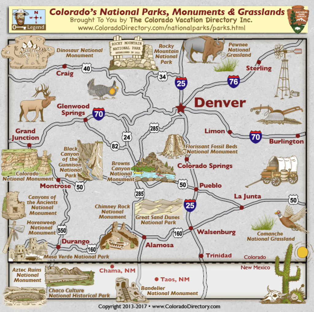 Colorado National Parks Monuments Grasslands Map | Colorado Vacation with Colorado State Parks Map