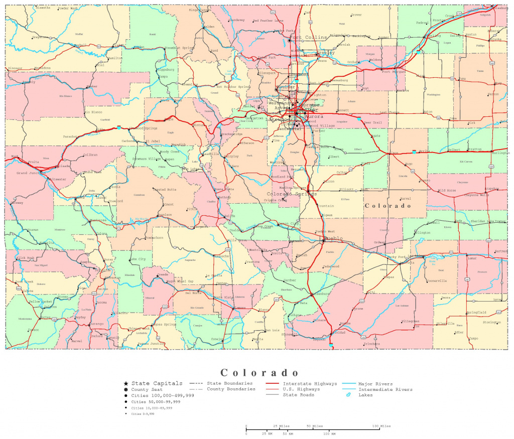 Colorado Printable Map within Printable State Road Maps
