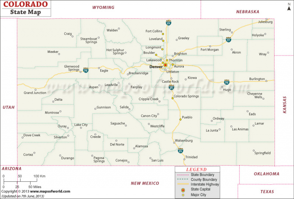 Colorado State Map regarding Picture Of Colorado State Map