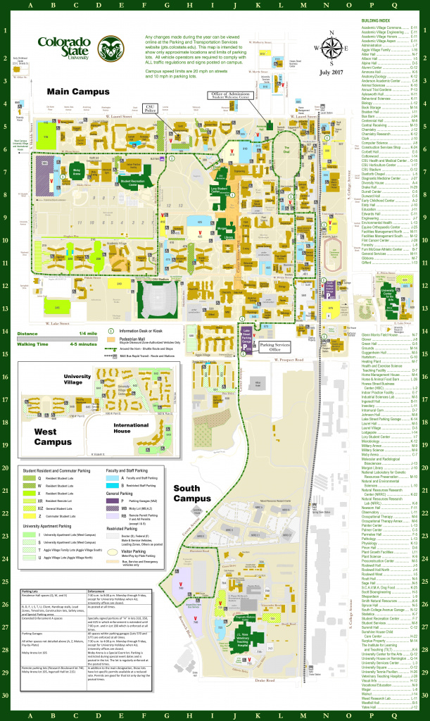 Colorado State University Parking Services pertaining to Colorado State University Campus Map