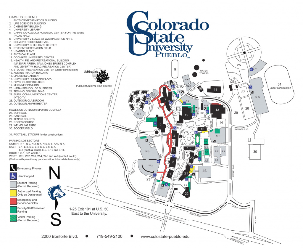 Colorado State University - Pueblo Campus Map - 2200 Bonforte Blvd intended for Colorado State University Campus Map