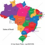 Colorful Brazil Map With States And Capital Cities. Within Map Of Brazil States And Cities