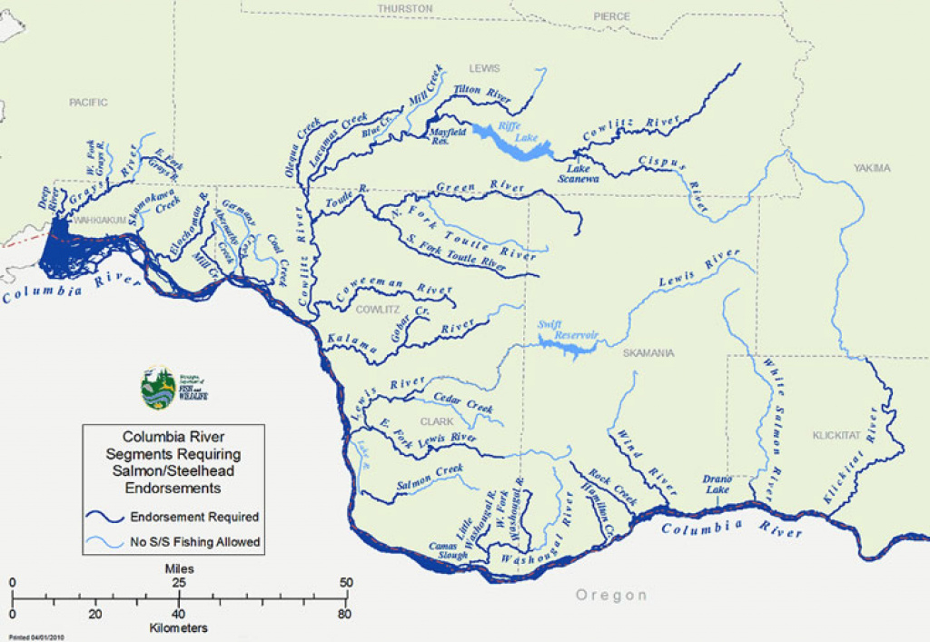 Columbia River Salmon And Steelhead Fishing License Endorsement Faq with Washington State Rivers Map