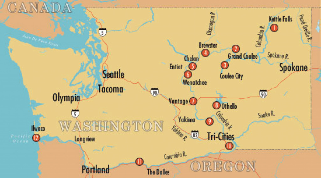 Columbia River Tour - Historylink throughout Washington State Rivers Map