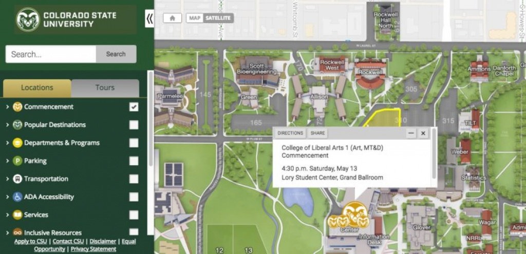 Commencement Week: Interactive Campus Map To Ceremonies, Parking throughout Colorado State Campus Map