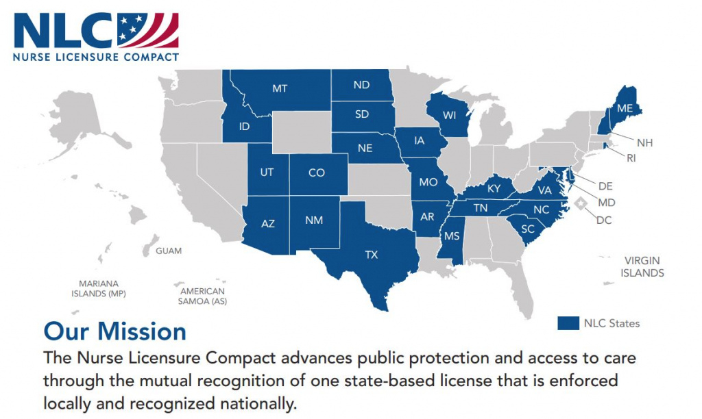 Compact State Map - Go Healthcare Staffing regarding Nursing Compact States Map