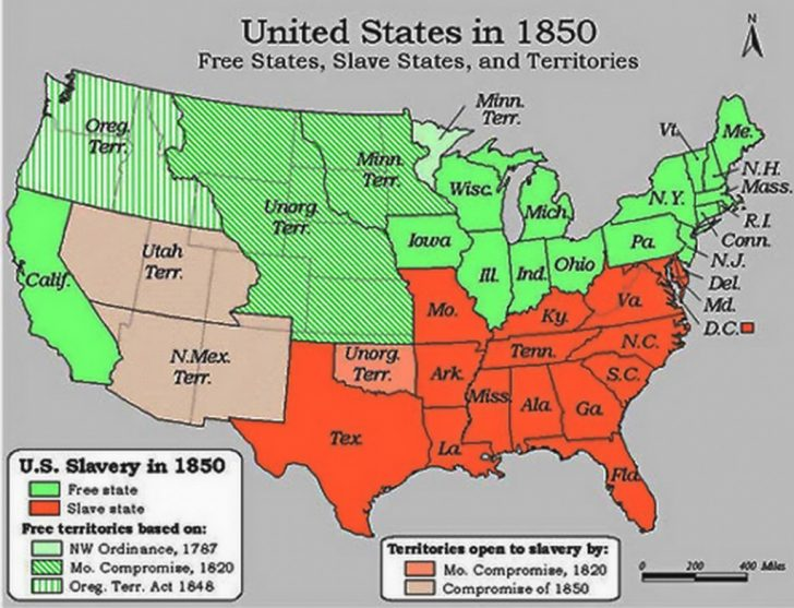 Map Of Slavery In The United States