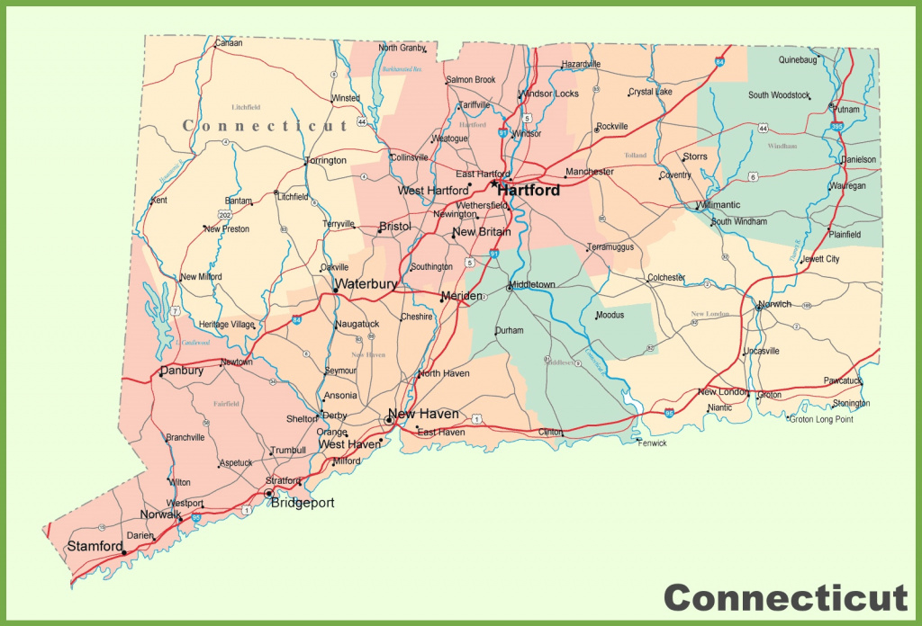 Connecticut Road Map With Cities And Towns intended for State Of Ct Map With Towns