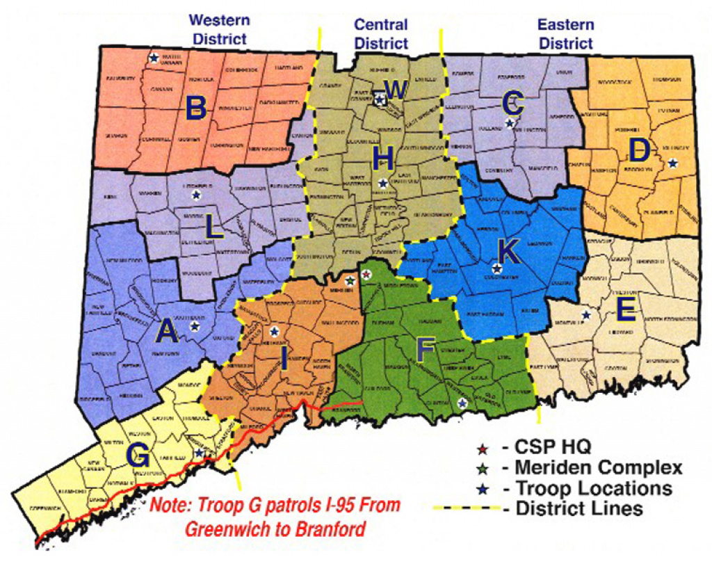 Connecticut State Police pertaining to Pa State Police Troop Map
