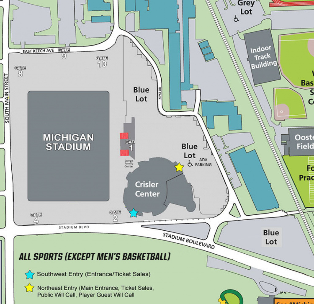 Crisler Center Parking (Events Other Than Men's Basketball for Michigan State Football Parking Lot Map