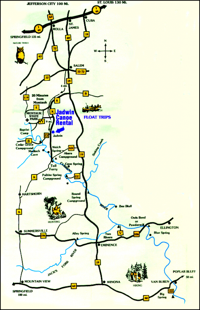 Current River Area Map | Jadwin Canoe Rental with regard to Montauk State Park Camping Map