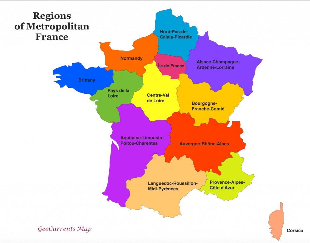 Customizable Maps Of France, And The New French Regions | Geocurrents in France States Map