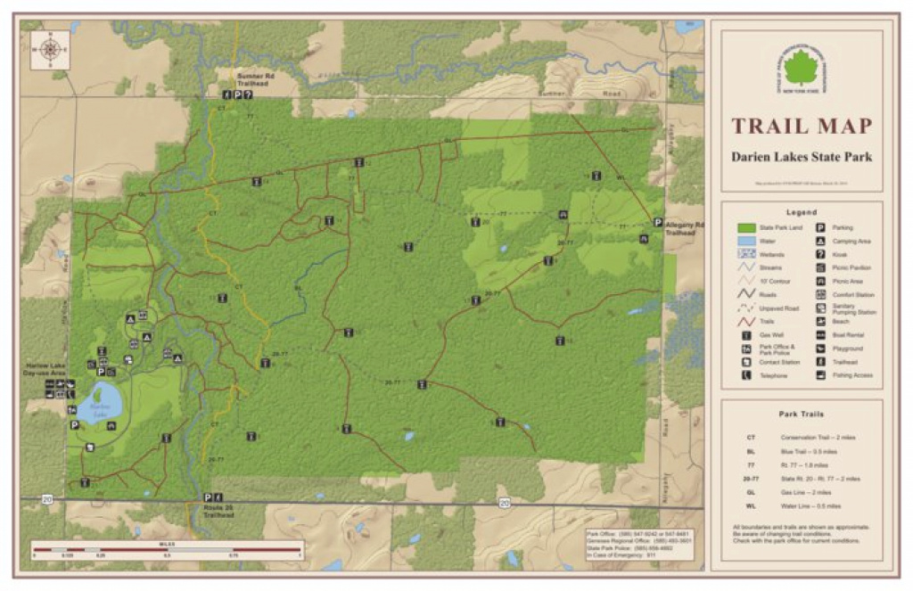 Darien Lakes State Park Trail Map - New York State Parks - Avenza Maps with Green Lakes State Park Trail Map
