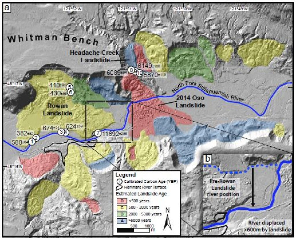 Dating Historic Activity At Oso Site Shows Recurring Major In Washington State Mudslide Map