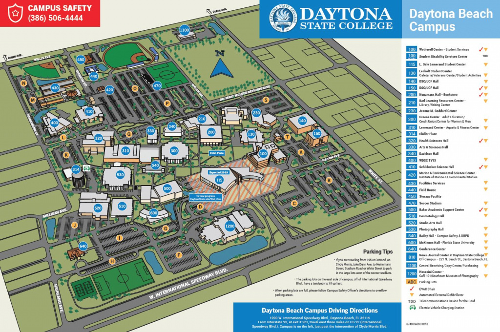 Daytona Beach Campus Map - Fall 2018 for Daytona State College Deland Campus Map