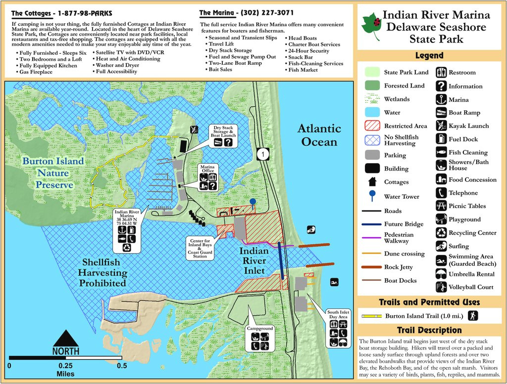 Delaware Seashore State Park - Maplets inside First Landing State Park Trail Map