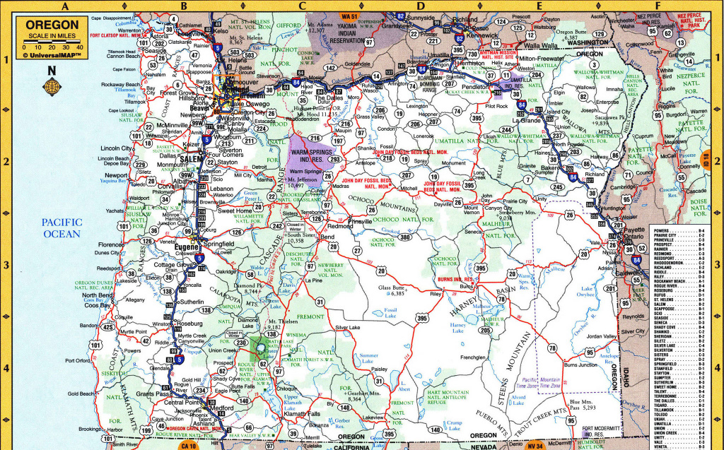 Detailed Map Of Oregon And Travel Information | Download Free intended for Oregon State Highway Map