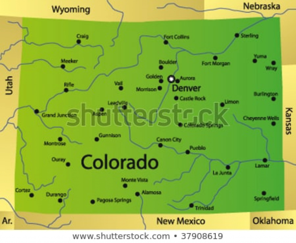 Detailed Vector Map Colorado State Usa Stock Vector (Royalty Free for Picture Of Colorado State Map