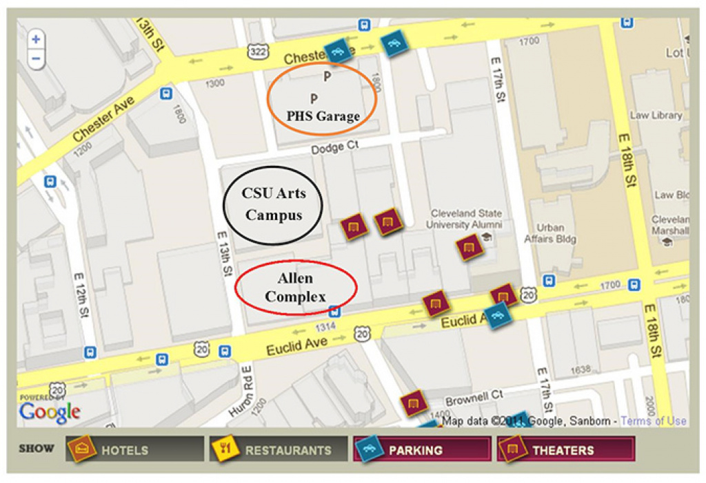 Directions And Parking | Cleveland State University with regard to Cleveland State Map