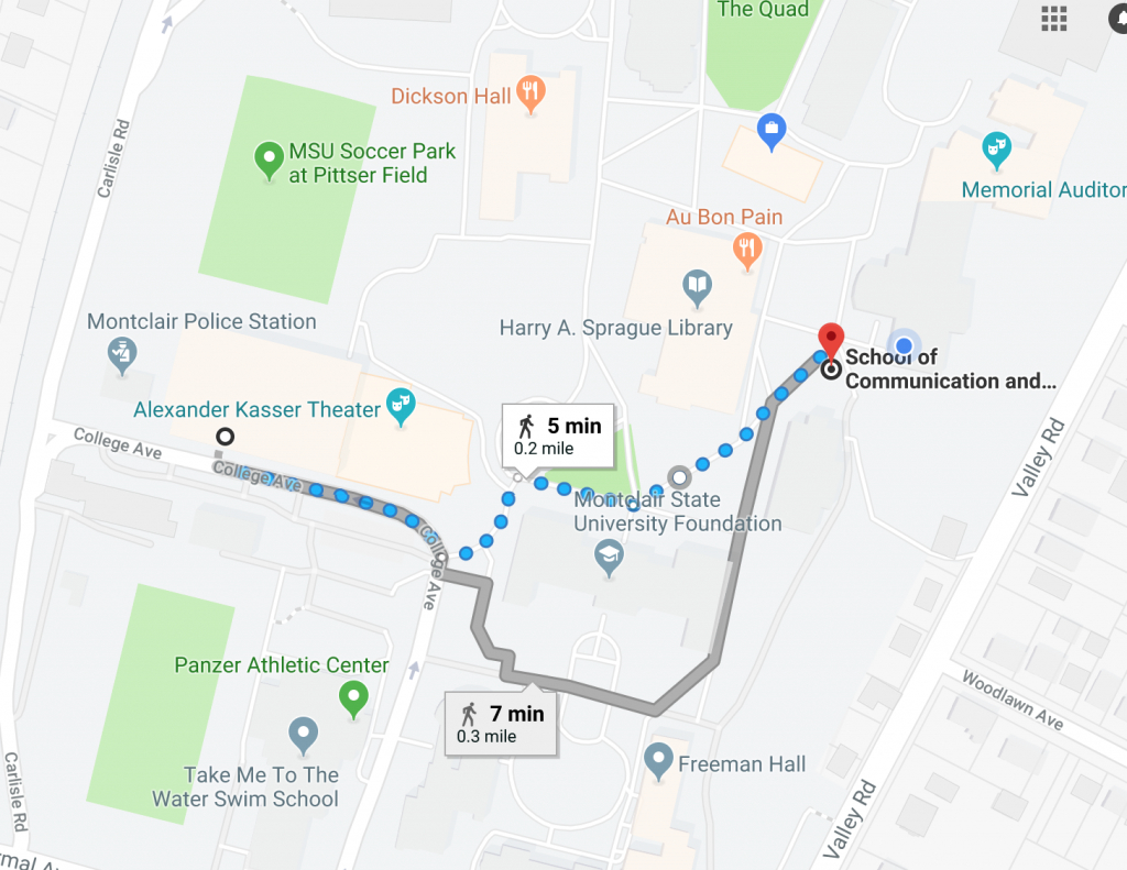 Directions   Center For Cooperative Media intended for Montclair State University Parking Map