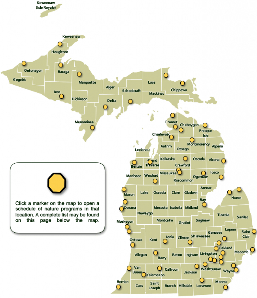 Dnr - Weekly Nature Program Schedules with regard to Michigan State Park Campgrounds Map