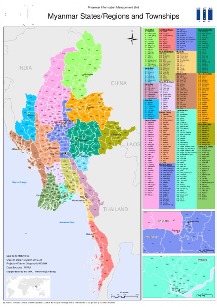 Document - Administrative Map - Myanmar State Region And Townships 2012 pertaining to Map Of Myanmar States And Regions
