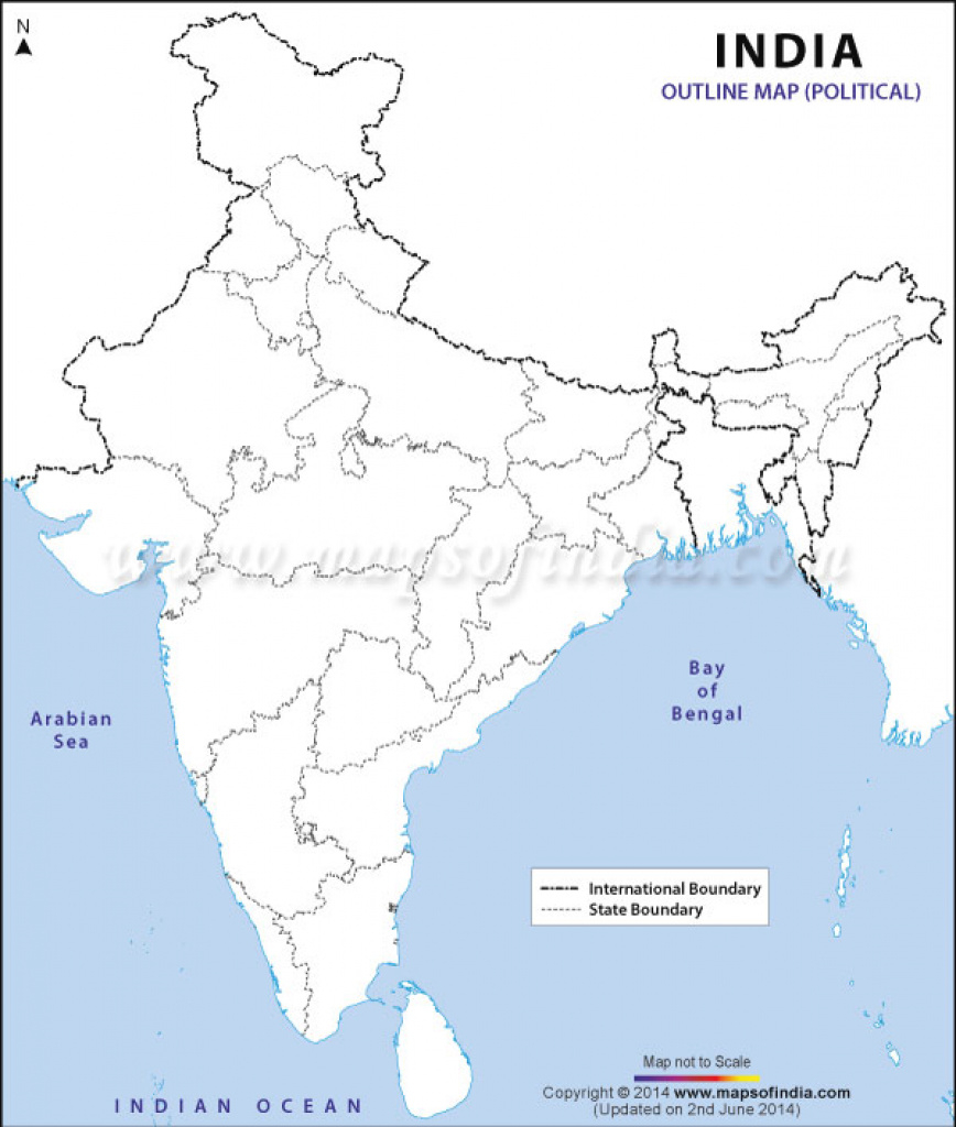 Download Free India Outline Map - Political regarding India Blank Map With States Pdf