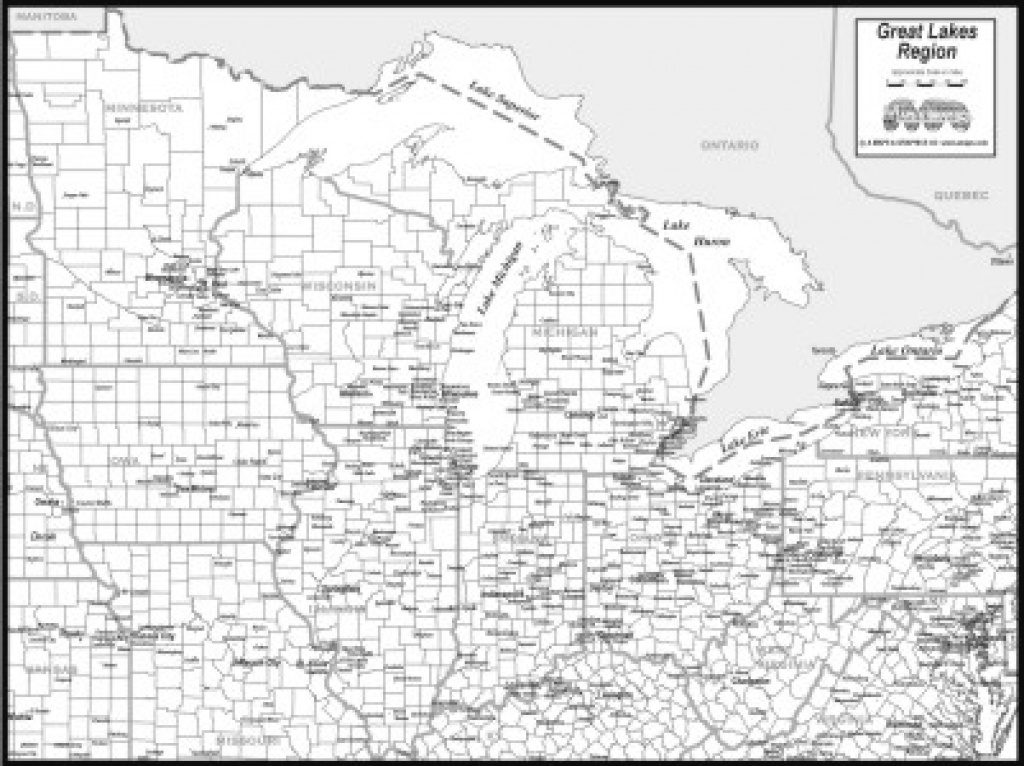 Download Great Lakes Map To Print Within Great Lakes States Outline Map