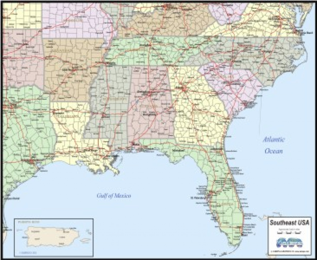 Download Southeast Usa Map To Print in Map Of The Southeast Region Of The United States