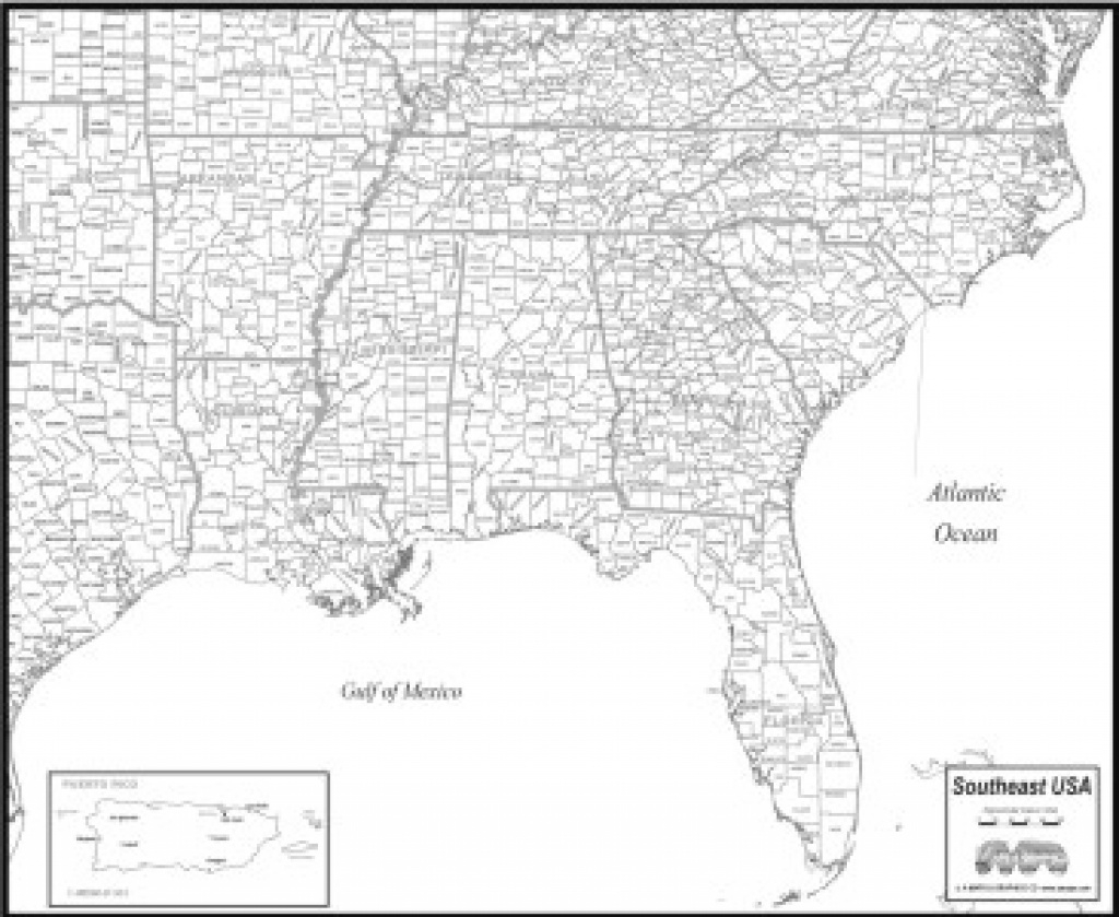 Download Southeast Usa Map To Print inside United States Map With County Names