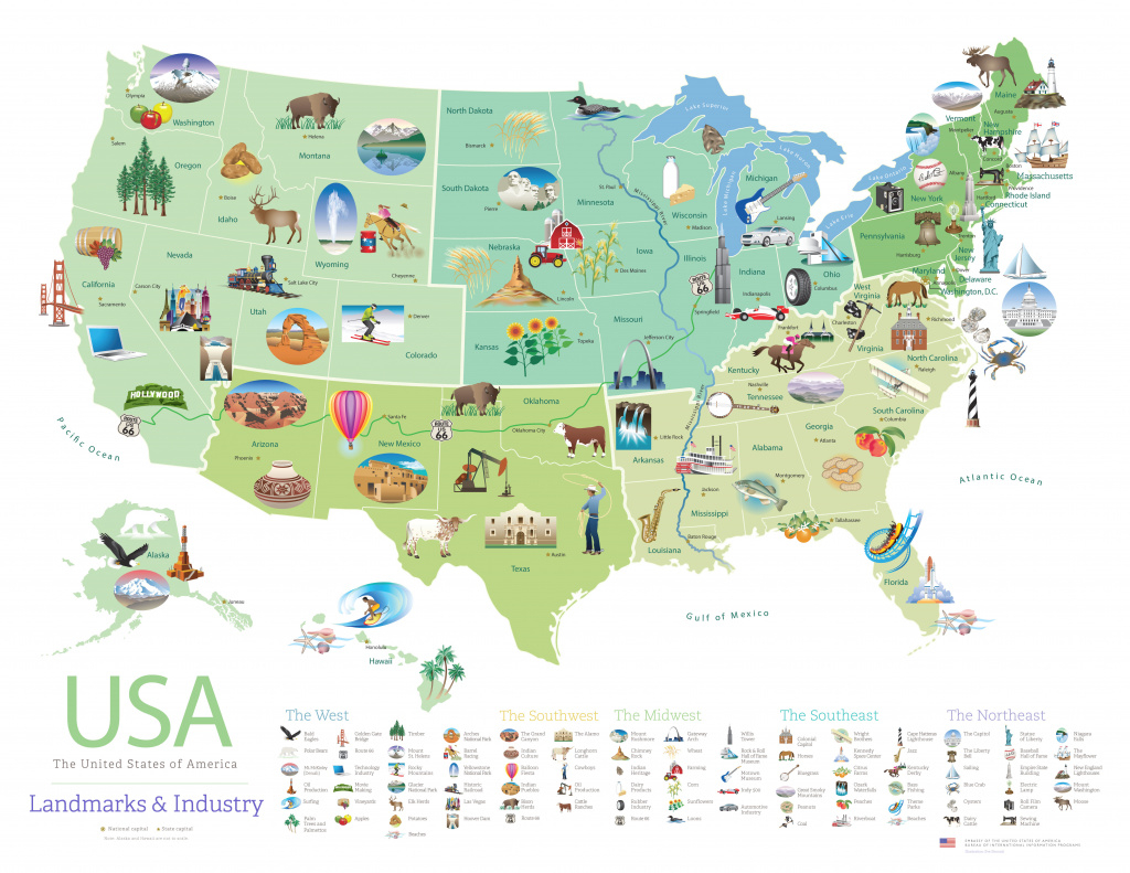 Download This Free Poster Of Famous U.s. Landmarks | Shareamerica intended for Google Maps State Icons