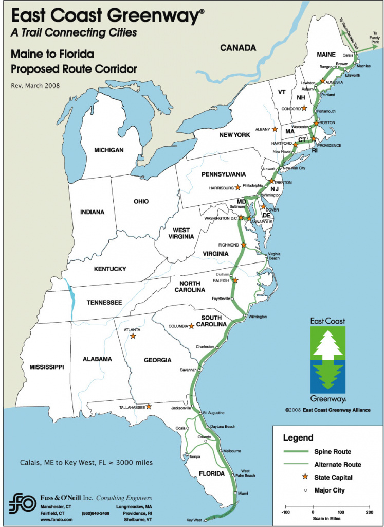 East Coast Greenway - Delaware Greenways inside East Coast States Map