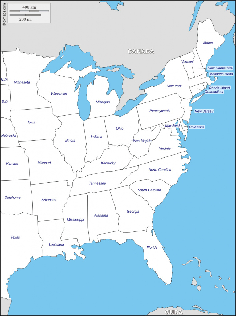 East Coast Of The United States Free Map Blank Inside Usa On Best with regard to East Coast States Map