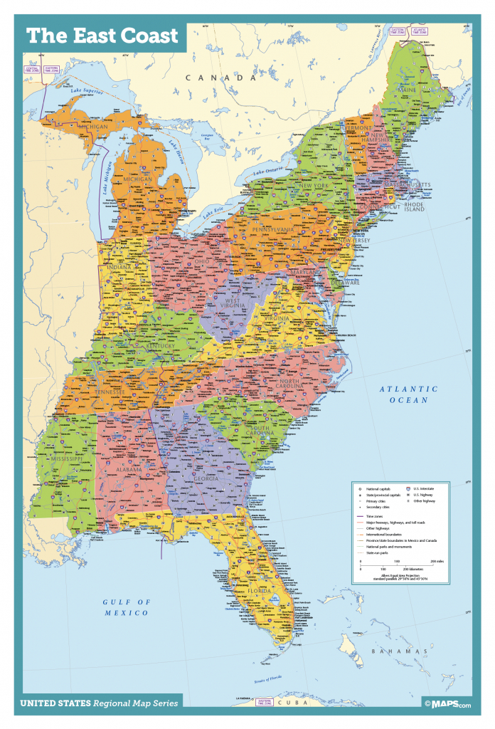 East Coast Usa Wall Map - Maps intended for Map Of Eastern United States With Cities