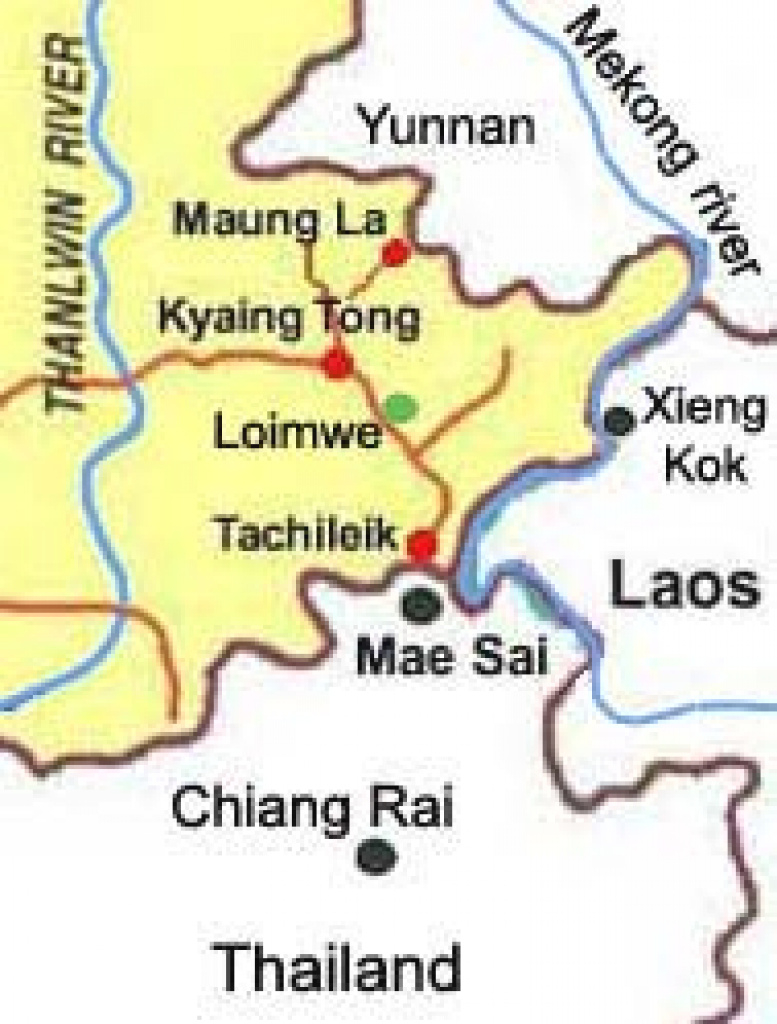 Eastern Shan State, Kyaing Tong, Tachileik, Hilltribe Villages Tours in Eastern Shan State Map